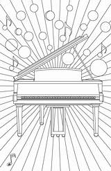 Coloring Burst Piano Pages Keys sketch template