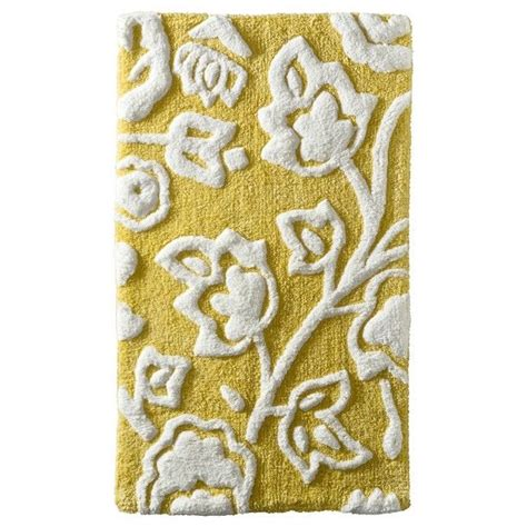 threshold floral bath rug yellow interior design