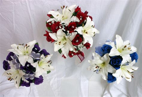 Bridesmaids Wedding Bouquet Lillies Roses Purple Royal
