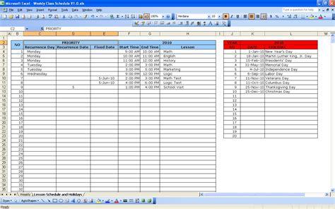 Spreadsheet Class Excel Schedule Calendar Template 2016