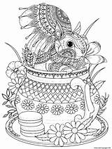 Coloring Cute Squirrel Pages Adult Teapot Printable Print sketch template
