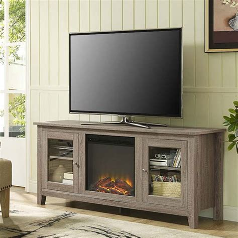 electric fireplace tv stand walker edison 60 inch tv stand with electric fireplace ash