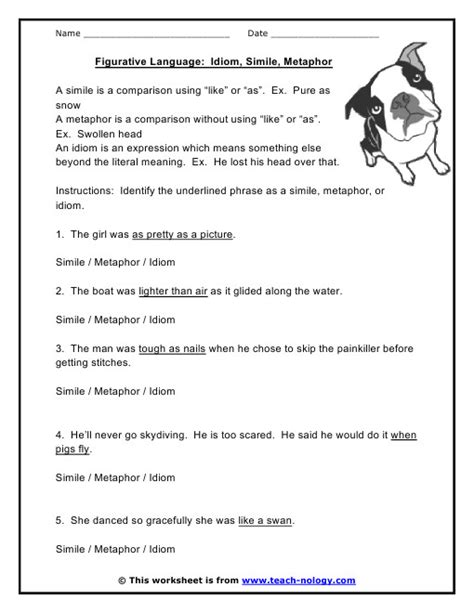 simile and metaphor worksheet homeschooldressage