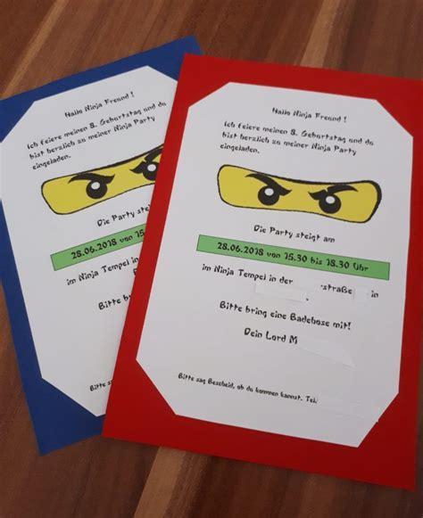einladungskarten fuer den kindergeburtstag ninjago party