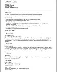 resume for child care assistant resume objective exles daycare worker south florida