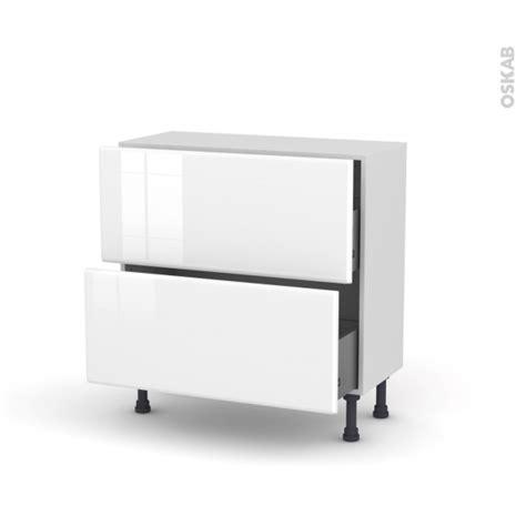 prof de cuisine iris blanc meuble casserolier prof 37 2 tiroirs