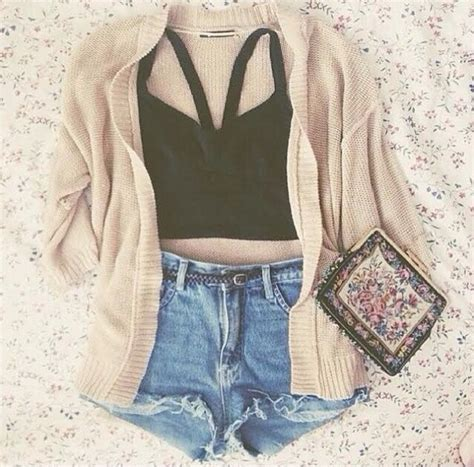 Blouse cardigan crop tops high waisted shorts black ...
