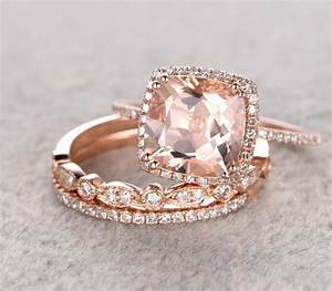 sale 2 carat morganite and diamond trio wedding bridal With gold wedding and engagement ring sets