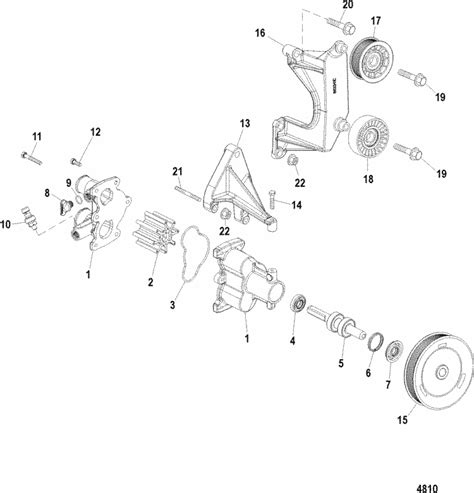 mercruiser  mag ho model seawater pump parts
