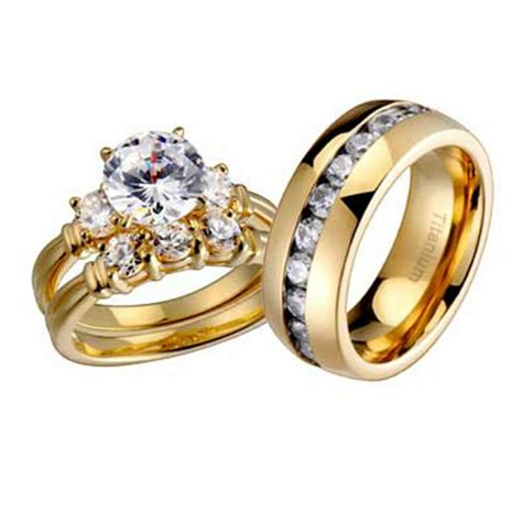 wedding rings  pcs engagement cz sterling