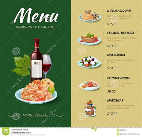 cuisine italien cuisine restaurant menu vector design stock