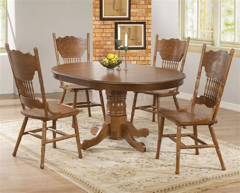 brooks pc dining set  coaster  oak woptions