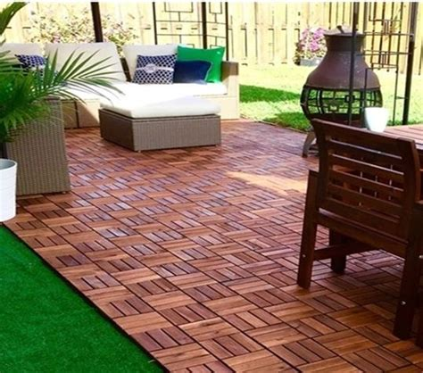 check out how this ikea fan used outdoor furniture and runnen floor decking to create a backyard