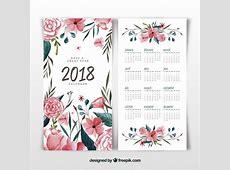 Calendário floral e aguarela 2018 Baixar vetores grátis