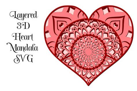Places to purchase mirror/metallic cardstock. Heart Layered Mandala 3D Design SVG - Valentine (979253 ...
