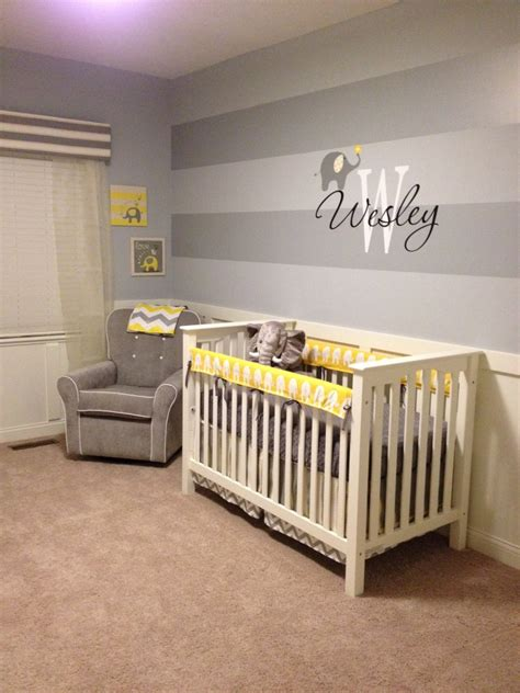 Gray Elephant Nursery by Wesley S Yellow And Gray Elephant Nursery Project Nursery