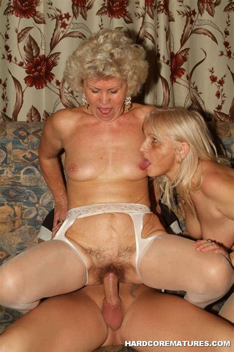 Blonde Grannies Riding The Same Cock 2697
