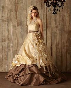chocolate brown and yellow gold wedding dress available With chocolate wedding dress