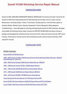 Suzuki Vl1500 Workshop Service Repair Manual By