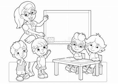 Classroom Teacher Coloring Cartoon Children Hands Scene