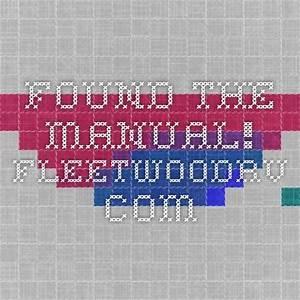 Found The Manual  Fleetwoodrv Com