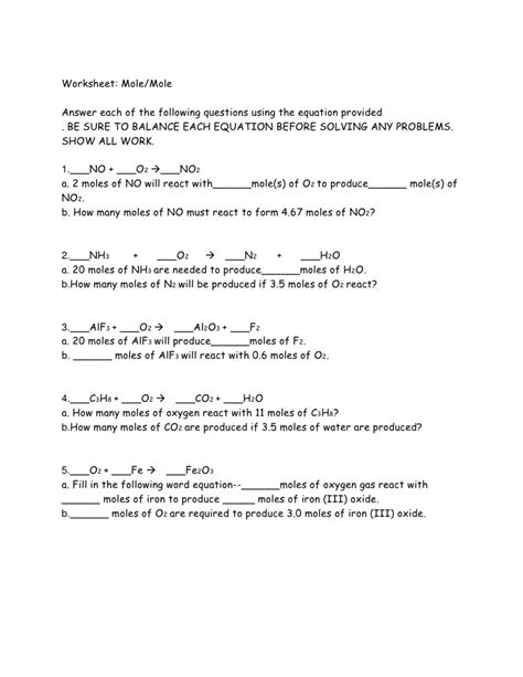 mole problems chemistry worksheet calleveryonedaveday