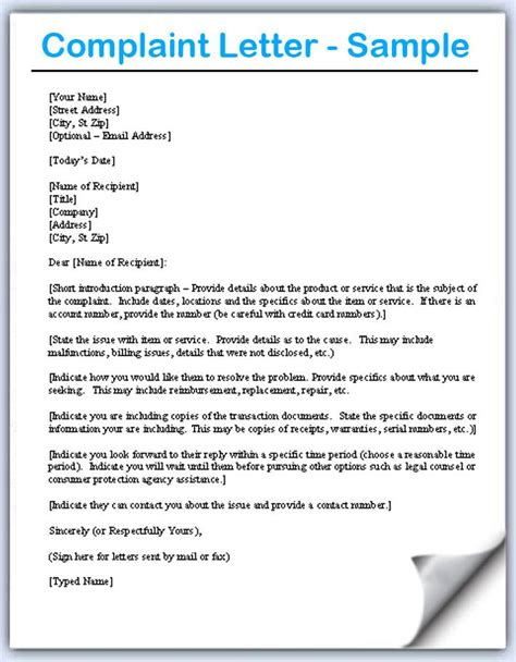 complaint letter sles writing professional letters misc
