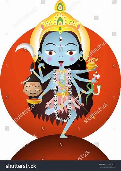 Kali Goddess Hindu Cartoon Illustration Vector Illustrations