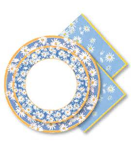 Daisy Paper Plates and Napkins