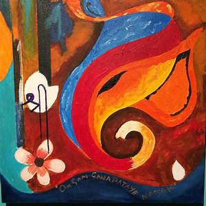 Lord Ganesh Elephant Abstract Painting by Ravi Upadhyay