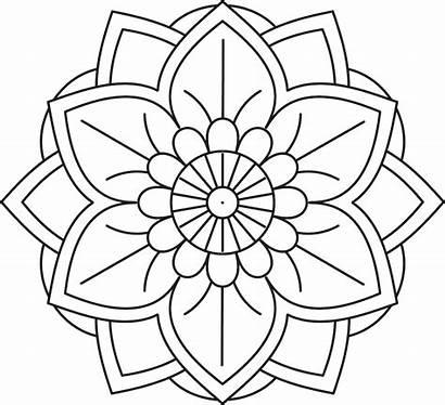 Mandala Coloring Pages Easy Flower Simple Printable