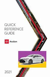 2021 Toyota Avalon Quick Reference Guide Free Download