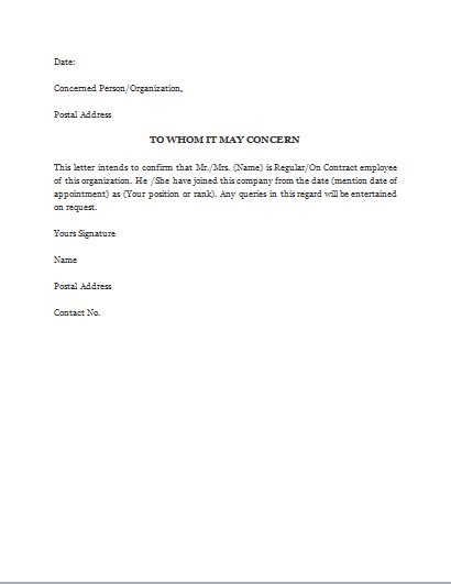 proof of employment letter template proof of employment letter template word excel templates