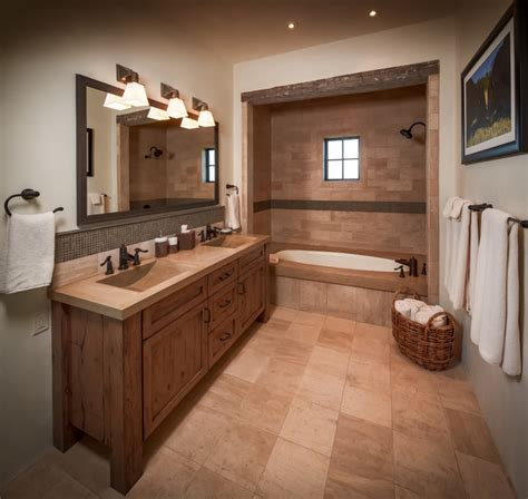 ranch rustic bathroom houston  thompson custom homes