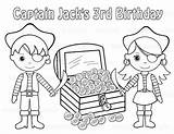 Pirate Coloring Pages Treasure Chest Printable Birthday Mermaid Drawing Childrens Twins Party Within Getdrawings Favor Sugar Pirates Personalized Activity Flag sketch template