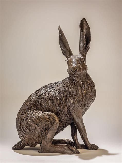 sitting hare bronze resin sculpture  nick mackman