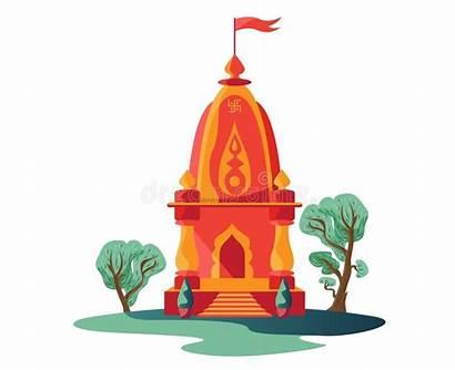 Temple Hindu Illustration Trees Clipart Indian Flag