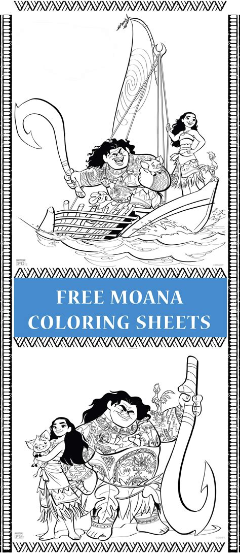 free printable moana coloring pages activity sheets for of all ages