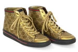 designer sneaker gucci gold canvas high top monogram sneakers sz 7 at 1stdibs