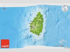 Physical 3D Map of Saint Lucia