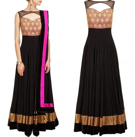 Boat Neck Frock by Dazzling Color Wedding Anarkali Collection By Indian