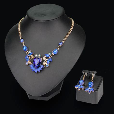 fashion gem necklace set dubai gold plated wedding