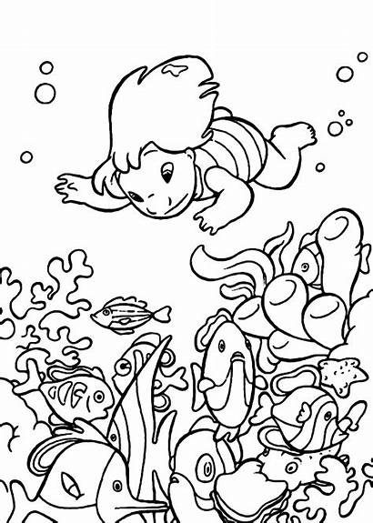 Coloring Pages Stitch Underwater Ocean Lilo Printable