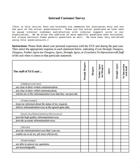customer satisfaction survey template sample templates