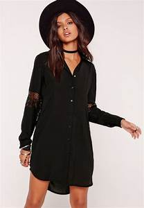 lace insert shirt dress black missguided With robe chemise noire