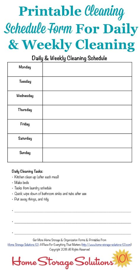 printable cleaning schedule form  daily weekly cleaning