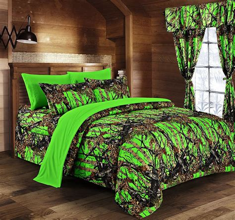 38929 camo bedding sets day glow green camo bed in a bag set the sw company