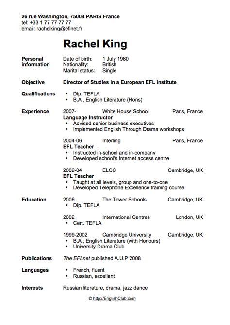 sample resumecv  english teacher business english