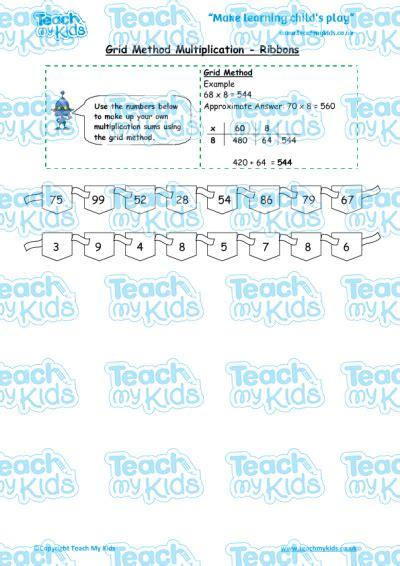 grid method multiplication ribbons teach my