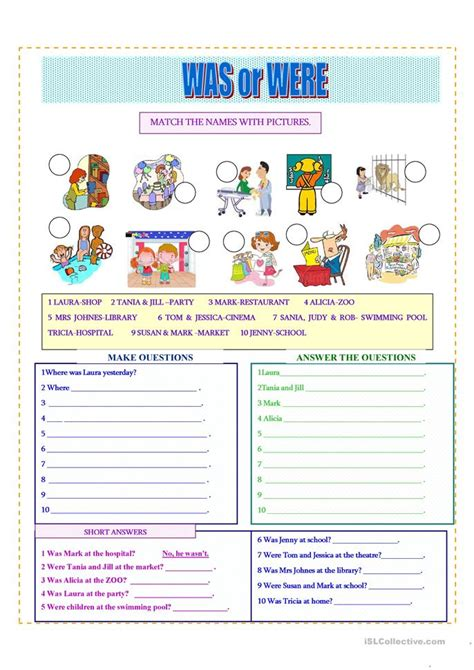 waswere worksheet  esl printable worksheets